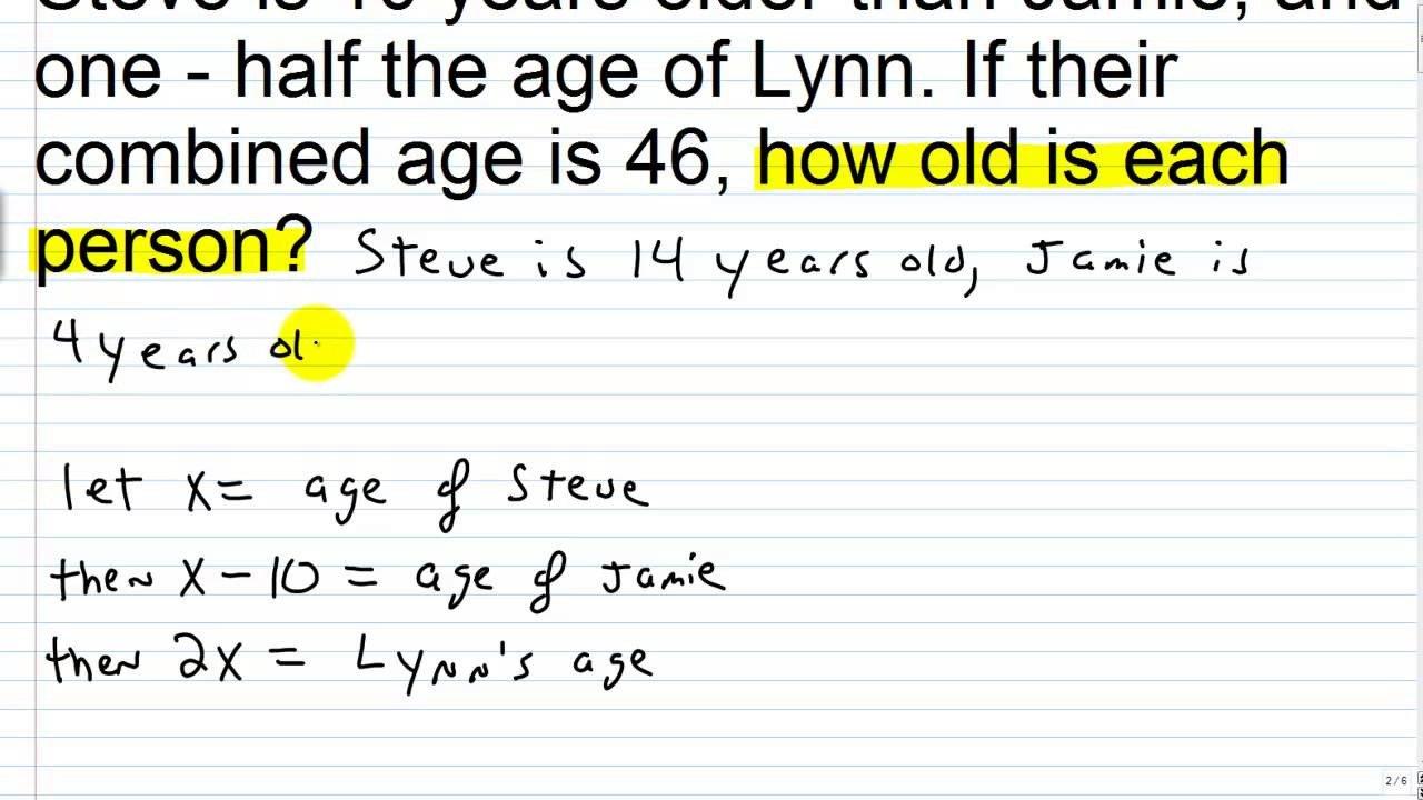 30 Age Word Problems Worksheet