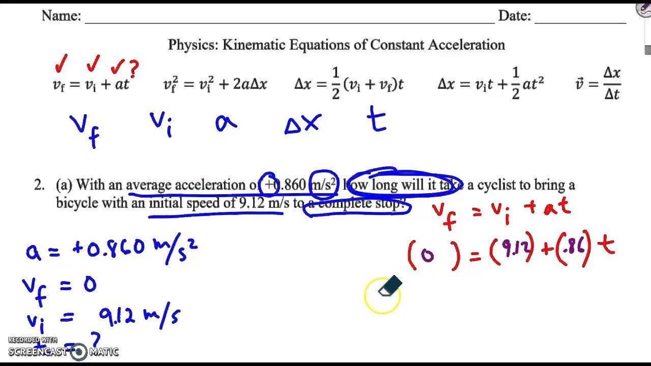 Constant Acceleration Problems
