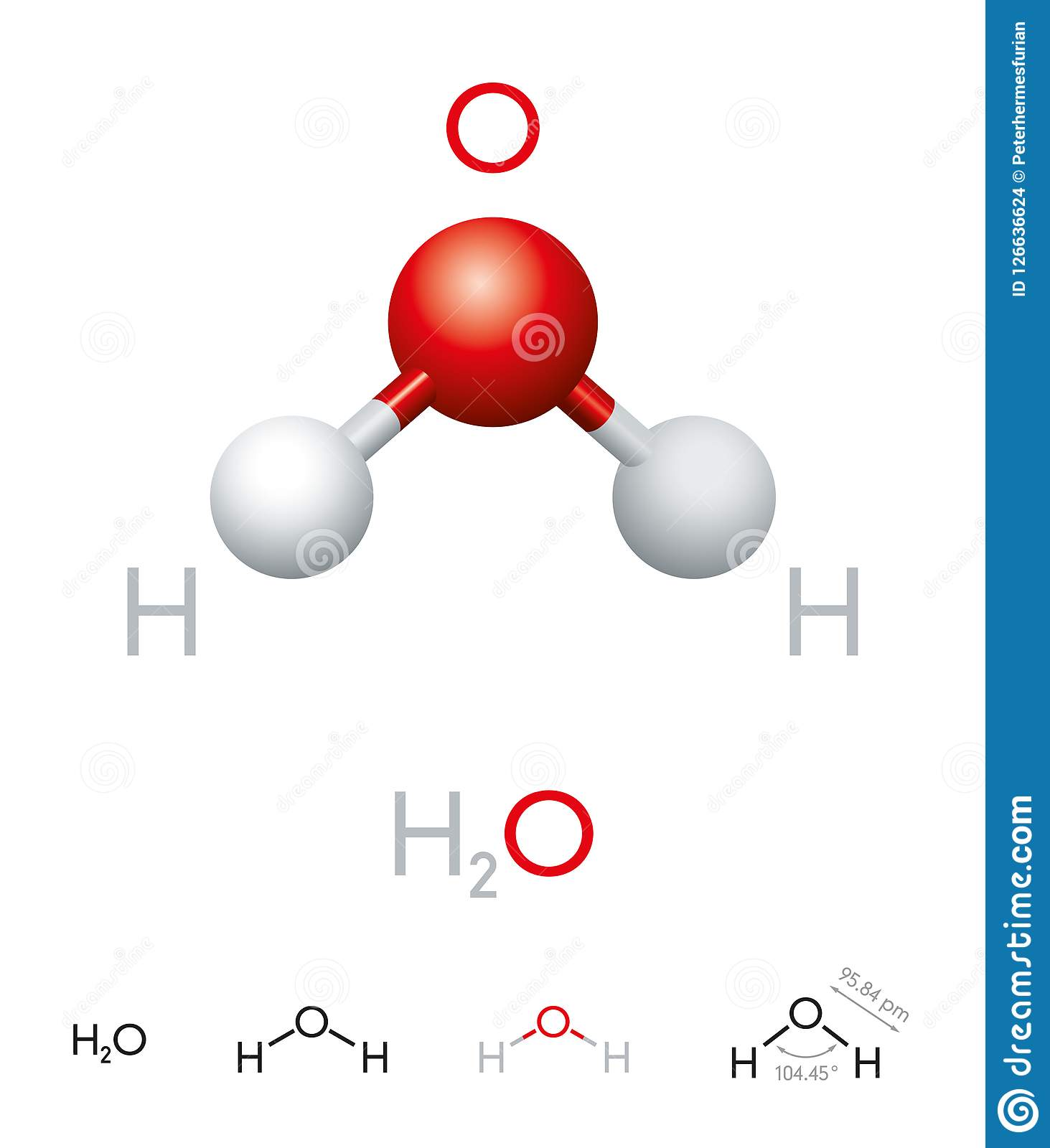 H2O Water Molecule Model And Chemical Formula Stock Vector ...